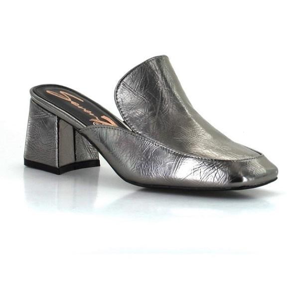 Seven7 Womens Meghan Square Toe Mules Chunky Heel Slip On Dress Shoes